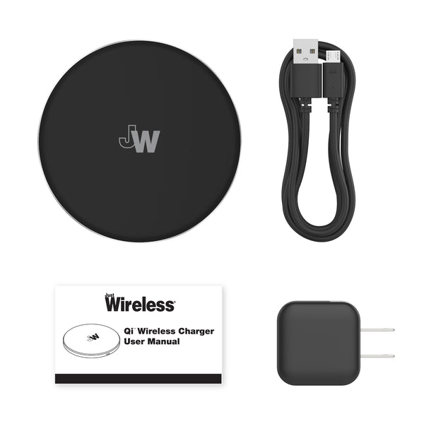 2pk 5W Qi Wireless Charging Pads (with Wall Adapters) - Black