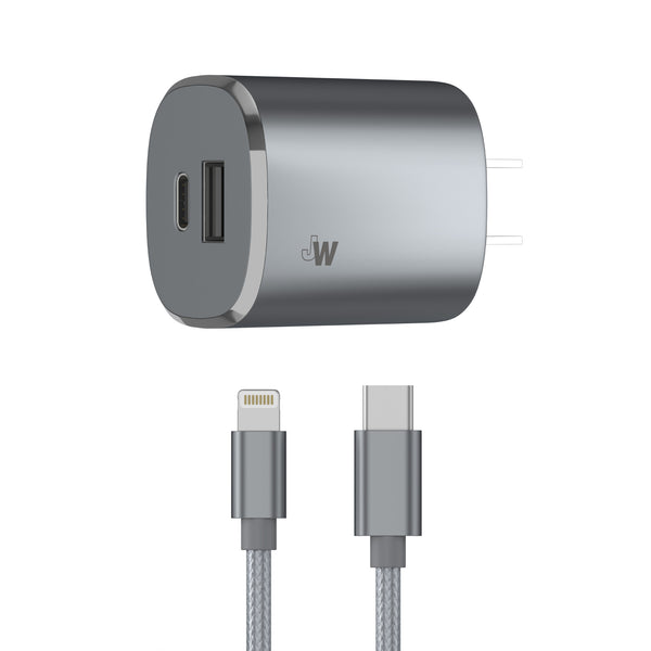Just Wireless - 2-Port USB Wall Charger with 3' Lightning to USB-C Cable