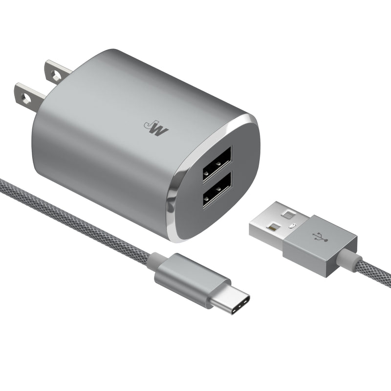 17W Dual Home Charger with 6ft USB-C Cable