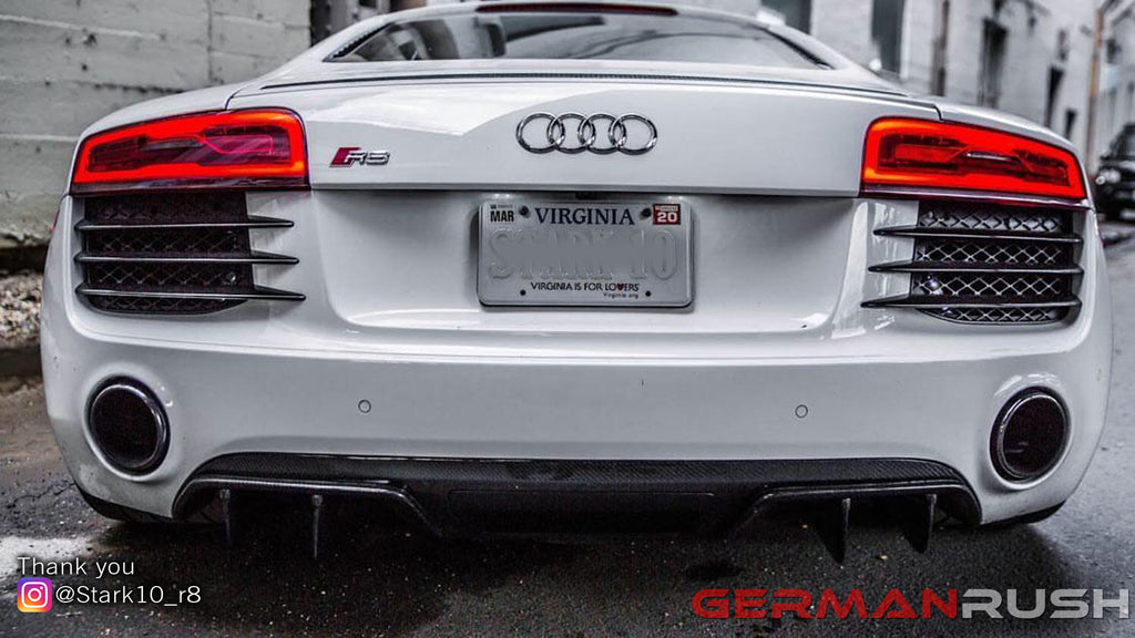 Check out @stark10_r8 Audi R8 featuring German Rush Carbon Fiber V10 Style Rear Diffuser for the Facelift Models