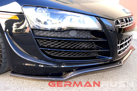 Front Splitter German Rush for the Audi R8 2007-2015 in Carbon Fiber or Fiberglass