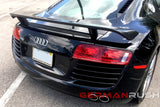 Wing GT HI Style for Audi R8 2007-2015 in Carbon Fiber or Fiberglass
