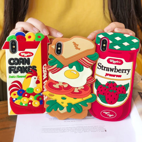 Korean Style Simulation Food Strawberry Canned Giant Hamburger Crisp Corn Silicone Phone Case for iphone 6 6S 7 8 Plus X Cover