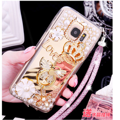 Hot Glitter 3D Crown Pearl Crystal Mirror Cases for iPhone XS Max XR XS X 6 6S Plus 8 7 Plus Bling Ring Stand coque Fundas