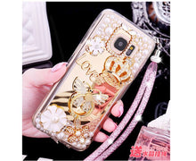 Load image into Gallery viewer, Hot Glitter 3D Crown Pearl Crystal Mirror Cases for iPhone XS Max XR XS X 6 6S Plus 8 7 Plus Bling Ring Stand coque Fundas