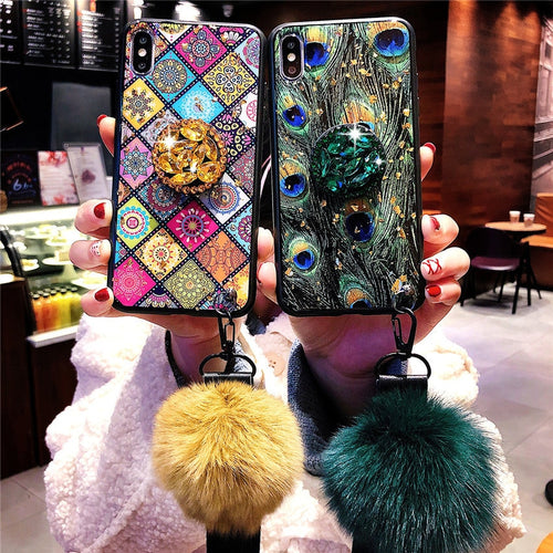 Peacock Ethnic Style Pattern Crack Lanyard Hair Ball Wristband Gold Foil Phone Case for iPhone 6 7 8 Plus X XS XR XS MAX Cover