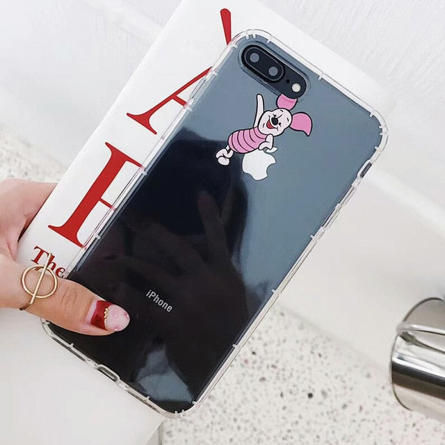 Cartoon Clear Phone Case For iPhone 7 8 Plus XS MAX XR Cute Anti-knock Soft TPU Phone Cover For iPhone X 6 6S Plus Coque Fundas