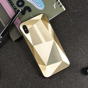 JAMULAR 3D Diamond Pattern Mirror Case For iPhone XS MAX XR 7 X 6 6s 8 Plus Shining Hard Back Cover For iPhone XS Slim Coque