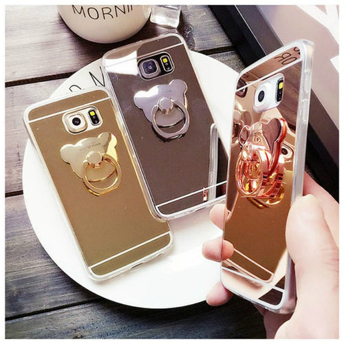 Fashion Mirror Soft Stand Holder Case For Samsung Galaxy A3 A5 A6 A7 A8 A9 J1 J2 Pro J3 J5 J6 J7 J8 2015 2016 2017 2018 Cover