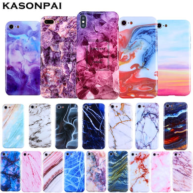 KASONPAI Luxury Marble Phone Case For iPhone 7 Case For iPhone X 7 6 6S 8 Plus Case Cover For iPhone XS MAX XR Coque Fundas