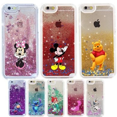 Cartoon Mickey Minnie Pooh Stitch Case for iPhone 6 6s 7 8 Plus X 5S SE XS Max Xr Glitter Dynamic Liquid Quicksand Phone Cases