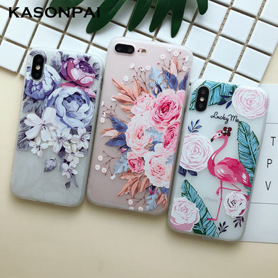 Relief TPU Floral Phone Case For iphone 8 7 6 6s plus 5G SE Case Ultra-Thin Scrub Flower Silicone Cover For iphone X Xs Max XR