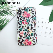 Load image into Gallery viewer, Relief Flowers Leaves Leopard Silicone Phone Case For iPhone 8 7 6 6s Plus Soft Clear TPU Back Cover For iPhone XR Xs Max X Case