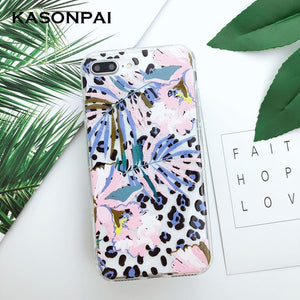 Relief Flowers Leaves Leopard Silicone Phone Case For iPhone 8 7 6 6s Plus Soft Clear TPU Back Cover For iPhone XR Xs Max X Case