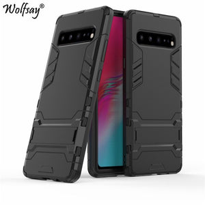 Wolfsay Cover For Samsung Galaxy S10 5G Case Slim PC + Soft Rubber Armor Phone Case For Samsung S10 5G Cover Galaxy S10 Fundas