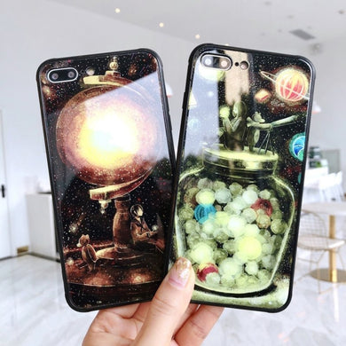 Luminous Glass Tiger Case for iPhone X S R MAX 8 7 Plus 6 6S Plus Bottle Wolf Tiger Fox Alice in Wonderland Cover Earth Universe