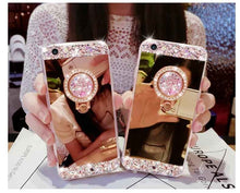 Load image into Gallery viewer, Luxury Mirror Bling Diamond Cases For iPhone XS Max XR X 8 7 6 6S Plus Phone Case Shining Handmade Holder With Stander Cover