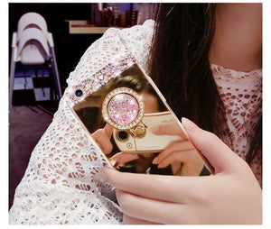 Luxury Mirror Bling Diamond Cases For iPhone XS Max XR X 8 7 6 6S Plus Phone Case Shining Handmade Holder With Stander Cover