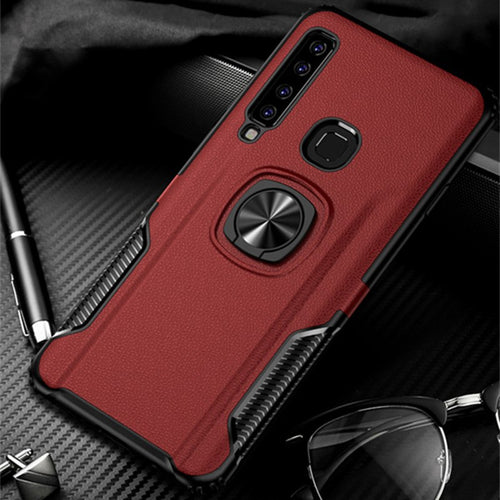 Q UNCLE Leather Metal Ring Stand Mobile Phone Case For Samsung A9 2018 A9S A7 2018 A750F S9 S8 Plus Note 9 8  J4 J6 J8 A8 2018