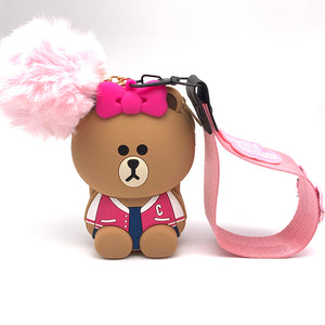 Q UNCLE Phone Lanyards 3D Cartoon  Lanyard For Keys With Pink Bow  / Mobile Phone USB Holder DIY Lanyard