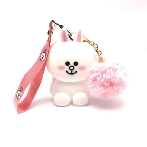 Q UNCLE Phone Lanyards 3D Cartoon  Lanyard For KeysPink White Rabbit Shape  / Mobile Phone USB Holder DIY Lanyard