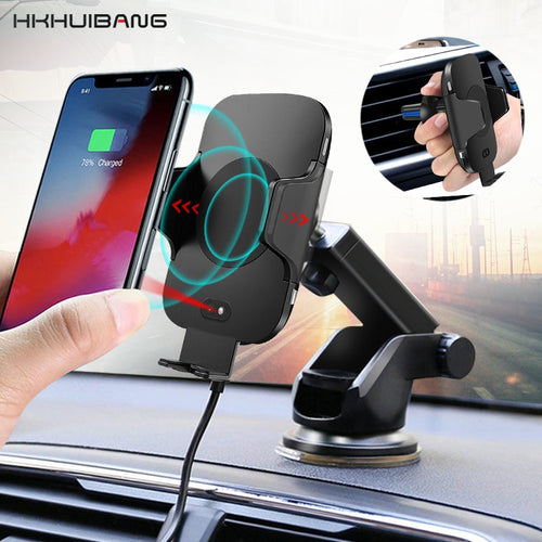 2in1 10W Automatic QI Car Wireless Charger For iPhone Samsung Infrared Sensor Fast Wirless Charger Car Air Vent Phone Holder