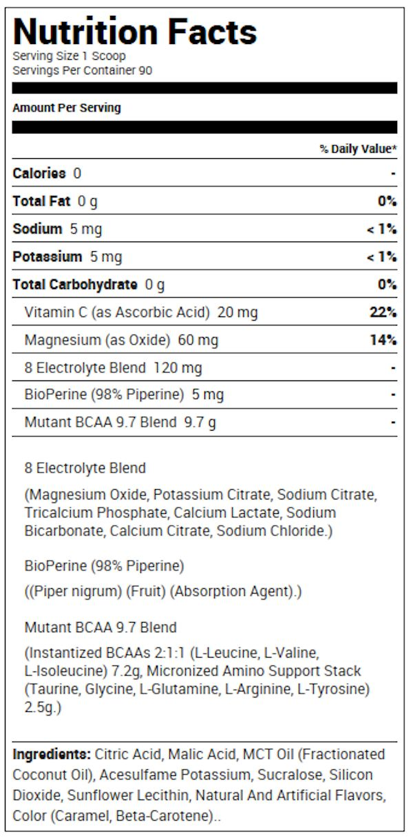 Mutant BCAA 9.7 90 servings Facts