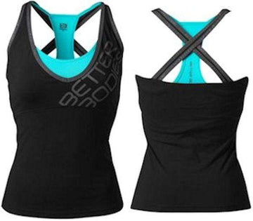 Better Bodies Support 2-Layer Top Black/Aqua (code: 20off)