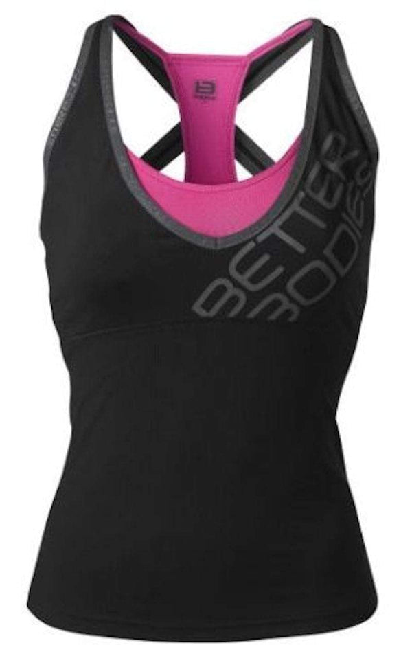 Better Bodies Women's Clothing Medium Better Bodies Support 2-Layer Top Black/Pink (Code: 20off)