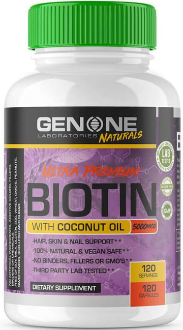 Genone Labs Ultra Premium Biotin with Coconut OIL 120 caps