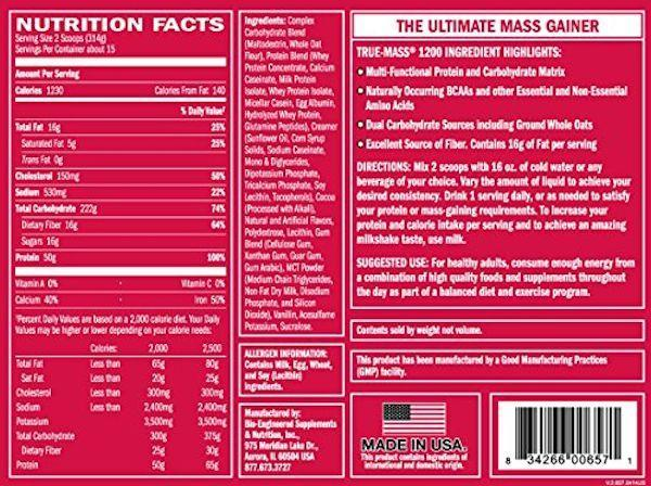 BSN Protein vanilla ice cream BSN True-Mass Gainer 1200 10.25 lbs