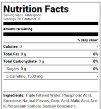 Ryse Supplements Liquid L-Carnitine 1500 Fact