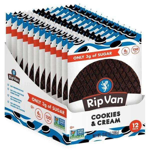 Rip Van Wafels Protein Bars, Cookie and Food COOKIES AND CREAM Rip Van Wafels WAFELS 12 pack