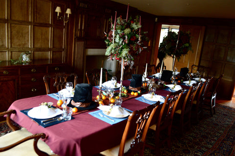 Burgundy Tablescape in Woody Room in Cotswolds