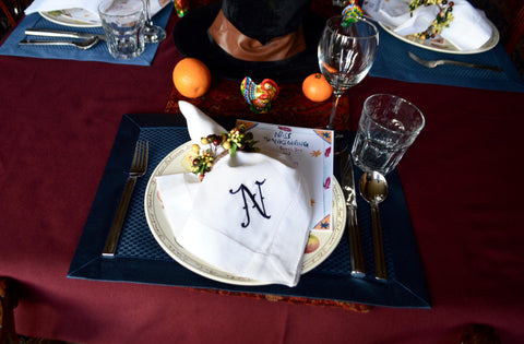 Customized N embroidered napkin