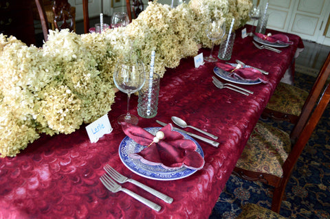 Burgundy Marble Tablescape for Thanksgiving and November