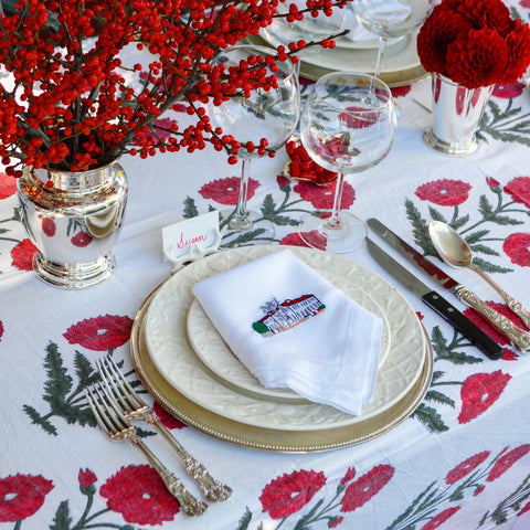 Red Poppy Block Print Tablecloth with Custom Embroidered Linen Napkins