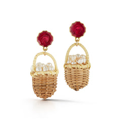 Baskets of Pearls earrings for Easter accessories