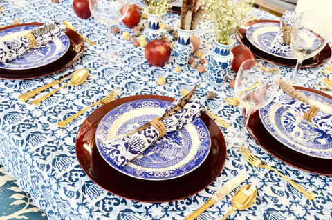 Blue and Burgundy Thanksgiving Table with Feathers