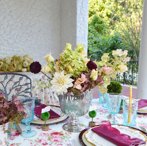 Green, white, pink, burgundy flowers for table flower arrangements for Thanksgiving and fall
