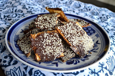 Chefanie Chocolate Matzah Toffee on Plate