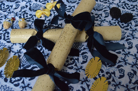 Chefanie Gold Crackers with Navy Velvet Ribbon Bows