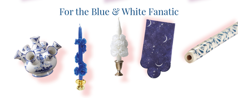 Gifts for someone who loves blue and white china candles table linens