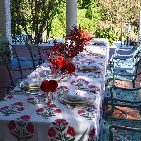 Red Dahlias and Ilex Table Flowers for Fall and Holiday