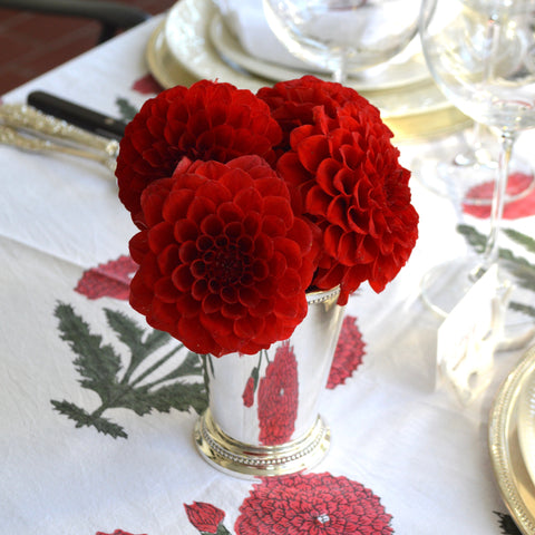 Red Dahlias in Silver Cup with matching tablecloth