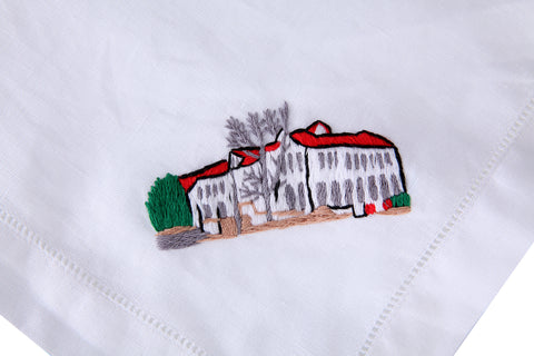 Home Embroidered on White Linen Dinner Napkin