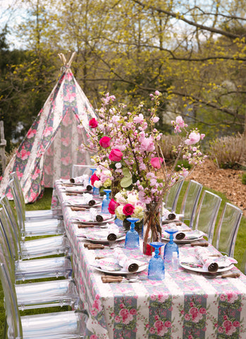 Floral patterned tent with custom matching Sargent Pepper style blazer
