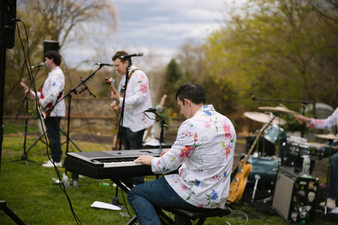 Beatles Cover Band wearing floral blazers