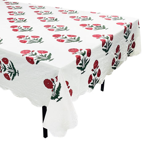 Red Poppy Tablecloth from Jaipur