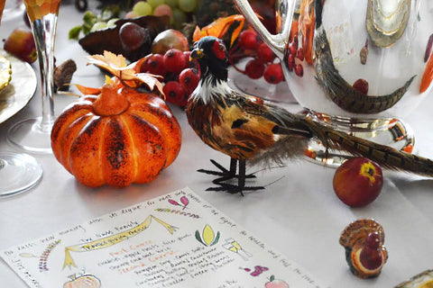 Thanksgiving Table Decorations Birds and Pumpkins